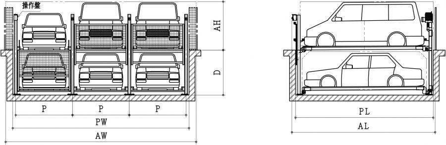 昇降横行ピット式機械式駐車装置ファムパークFP-11入出庫時概略図