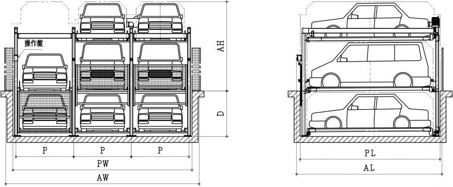 昇降横行ピット式機械式駐車装置ファムパークFP-21入出庫時概略図