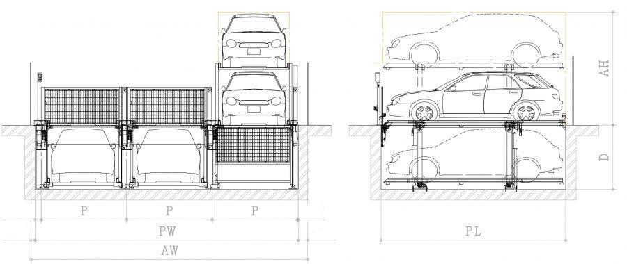 昇降ピット式機械式駐車装置ファムパークFP-P2概略図~地下1階車両入出庫時