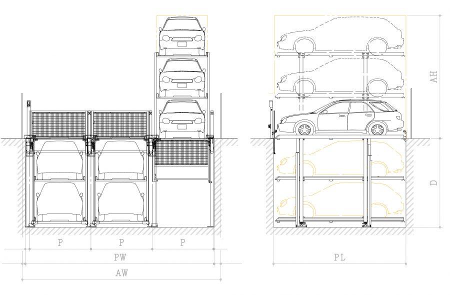 昇降ピット式機械式駐車装置ファムパークFP-P3概略図~地下2階車両入出庫時