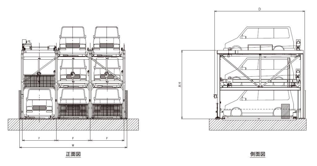 ファムパーク FP-50 正面図・側面図